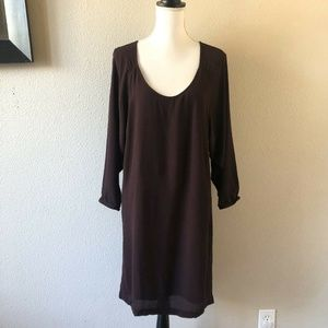 James Perse Purple Pockets Sheer Tunic Shift Dress